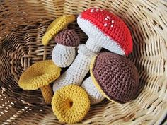 I had to share this even though its in Swedish. The gorgeous Swedish craftandchocolate shares the amazing job she did crocheting up these little mushrooms using this pattern - Karl Johan mushrooms here .   As I said the pattern IS in Swedish but Google translate might do a good job. I havent tried yet.   Pretty right?