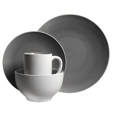 Shop for Mikasa Leah Charcoal Stoneware Dinnerware Set for 4 - Case ...