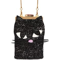 Lulu Guinness Women Small Kooky Cat Glittered Shoulder Bag (282 AUD) ❤ liked on Polyvore featuring bags, handbags, shoulder bags, black, chain strap handbag, chain handle handbags, shoulder bag purse, clasp purse and shoulder handbags