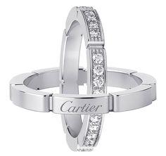 Cartier.  Maillon Panthere casamento De anéis Cartier.  Maillon Panthere de aliança Cartier, de ouro branco com diamantes lapidados abriu brilhantes.  Weding banda em ouro branco.  POA.
