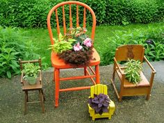 Old wood chairs can easily be converted into holders for flowerpots; simply cut a hole in the seat and slip in the pot. Doll-sized chairs don't need any extra preparation because you can just set a small pot right on the seat. Potty chairs work the best because the hole is already there. Design by Nancy Ondra