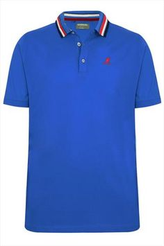 Blue Short Sleeve Polo Top With Striped Collar