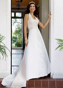 Satin A-line halter with split front, beaded lace, removable modesty panel, and lace-up back.   Chapel train.  Fully lined. Back zip. Imported Polyester. Dry Clean.  Petite: Style 7T9218, sizes 0P-16P.  To preserve your wedding dreams, try our Wedding Gown Preservation Kit.