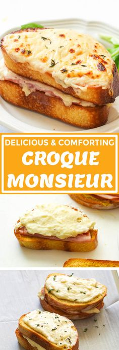 Croque Monsieur - classic French comfort food made with ham and cheese sandwich coated in a delicious made-from-scratch Béchamel sauce French Dishes, French Food, French Stuff, Sandwiches, Brunch Recipes, Breakfast Recipes, Easy Recipes, Boiled Ham, Cheese Soup