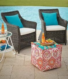 Picture a pair on your porch or gather a group around your outdoor dining table; whether you have a balcony, porch, or patio, the Julianna woven chair is sure to be a perfect fit. | Fresh + Fab Outdoor Pad