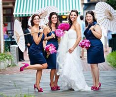 Navy dresses and pink heels for my bridesmaids!~ my girls will be wearing sparkly pink TOMS with their navy dresses!