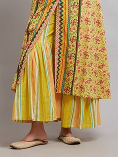 Buy Yellow Striped Cotton Sharara online at Theloom