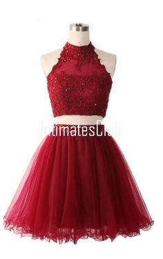 Burgundy Beaded Two Piece Short Ball Gown Tulle Mini Cocktail Graduation Party Homecoming Dress