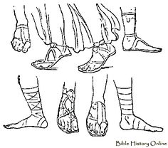 Line Drawing of Ancient Roman Sandals
