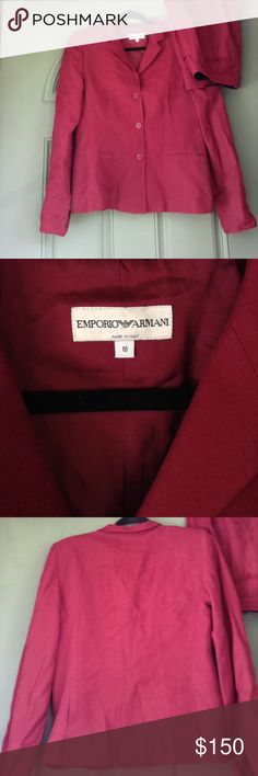 "Emporio Armani Burgundy Suit sz10 perfect for fall Emporio Armani suit size 10.  Could use a good steam but I currently do not have access to one! A mark from where pants were hung but would most likely buff out when cleaned (pictured). Pants are wide leg trousers. Blazer has slight shoulder padding a small slits in sleeve ""cuffs"". Ask if you would like more pics! Jackets & Coats Blazers"