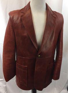 Vintage Retro Red Leather Blazer-style '70s-'80s Car Coat J Riggings Men's L #JRiggings #BlazerCarCoat