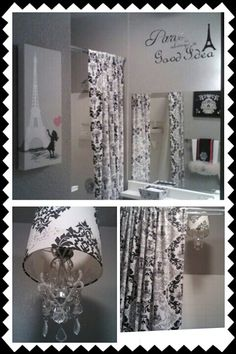 Damask bathroom black white and pink. Used target damask curtains and turned lampshade into a chandelier