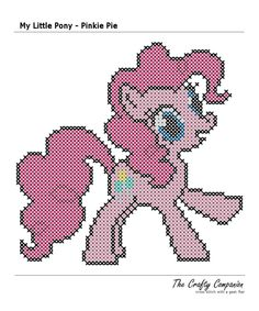 My Little Pony - Pinkie Pie Inspired PDF Cross Stitch Pattern. $3.00, via Etsy.