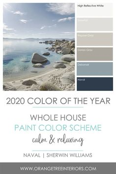 I'm sharing six [whole house] paint colour schemes featuring the 2020 colour of the year, plus discussing the best paint finishes for your home and where you should use them. Read this now and… Farmhouse Paint Colors, Paint Colors For Home, Coastal Paint Colors, Paints For Home, Kitchen Paint Colours, Living Room Paint Colours, Paint Colours For Bedrooms, Paint Colors For Office, Blue Living Room Walls