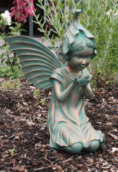 White Bindweed Bronze Flower Fairy Statuette Price $42.50. Fairy  StatuesGarden ...