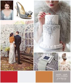 Sparkle + Mink Winter Wedding Inspiration Board via Oh Lovely Day™ (Use Mars, Crystal, Antique Gold, and Silver in C & P colors)