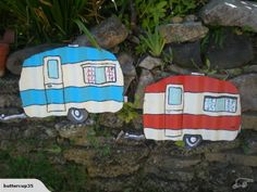 Pair of little caravans fence art made in nz | Trade Me