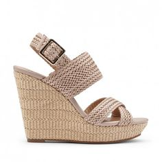 Women's Max Taupe Faux Leather 4 1/4 Inch Woven Platform Wedge   Saraa by Sole Society