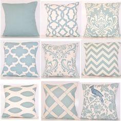 Spa Blue Pillow Cover.Pillow.Toss Pillow.Light Blue Pillow.Decorative Pillow.Sham.Euro.Lumbar.Zig Zag.Chevron Pillow.Throw Pillow.Handmade.