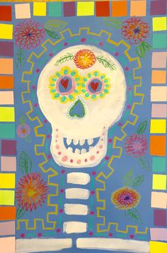 This little third grade Dia de Los Muertos project was enjoyed by my third graders and by me, too!  I love Crayola Color Sticks – they can be a nice alternative to oil pastels when you d…