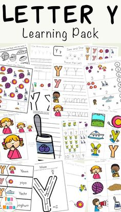 Free letter y worksheets for preschoolers, kindergarteners and toddlers. The activity pack includes coloring pages, play dough mats, fine motor activities, see and stamp, cut and paste and more letter y themed activities. via @funwithmama