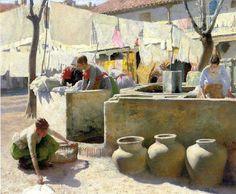 """Charles Frederic Ulrich. """"Las lavanderas de Sevilla""""."""