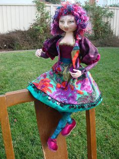 Miss Molly cloth doll made from a class by Colleen Ehle Patell.