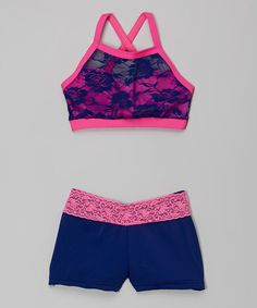 Two piece crop top pink with blue lace overlay. Blue by elliewear
