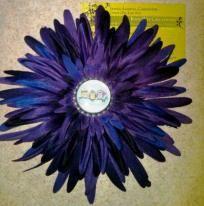 Owls dark purple flower clip