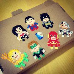 Justice League perler beads (Superman,  Batman, The Flash, Wonder Woman, Cyborg,  Aquaman, Green Lantern) by konolau