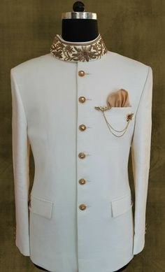 I like keeping a shipping container full of these; just for a rainy day, or a sunny day, or a partly cloudy day. Best Wedding Suits, Wedding Dress Men, Indian Wedding Outfits, Indian Men Fashion, Mens Fashion Suits, Mens Suits, Mens Traditional Wear, Traditional Jacket, Indian Groom Wear