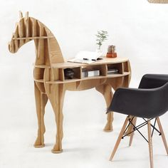 Home Decor 3D caballo de madera de escritorio