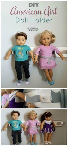 DIY American Girl Doll Holder - Organize your 18 inch dolls with a DIY holder  Toy Organization   Doll Organization   Doll Display   Toys   My Life   Our Generation  #AmericanGirl #AmericanGirlDoll #AmericanGirlDIY #toyorganization #dolls #doll