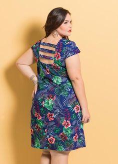 Vestido Decote Quadrado Mix Floral com Tiras - Posthaus