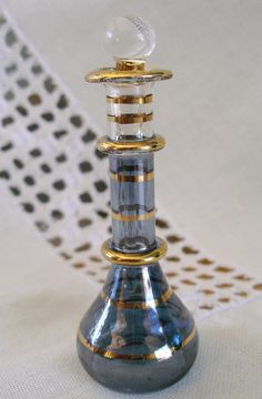 Egyptian Mouth Blown Glass Perfume Bottles 24 Ct Gold