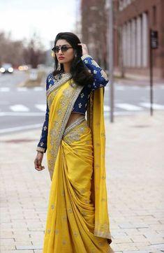 Get the latest trends ruling the charts in India. Sari Design, Saree Blouse Patterns, Sari Blouse Designs, Indian Dresses, Indian Outfits, Indian Saris, Saree Trends, Stylish Sarees, Elegant Saree