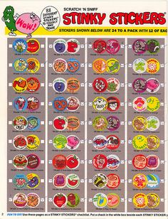 Scratch 'n Sniff Stinky Stickers 1980s Childhood, My Childhood Memories, Sweet Memories, School Memories, 80s Kids, Ol Days, My Memory, The Good Old Days, Vintage Toys