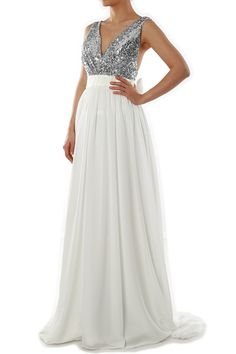 875ea5352a Shop a great selection of MACloth Women V Neck Sequin Long Prom Dress  Wedding Party Formal Evening Gown. Find new offer and Similar products for  MACloth ...