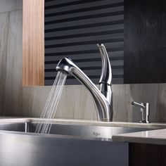 Kraus KPF-2110 Single Lever Pull Out Kitchen Faucet, Stainless Steel - Touch On Kitchen Sink Faucets - Amazon.com  $272