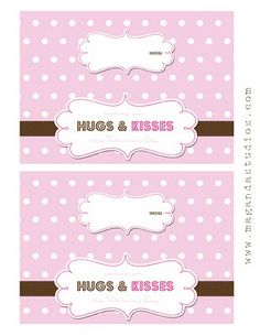 Maganda Studios: Freebie - Hugs and Kisses Valentine's Day Treat Bag Topper My Funny Valentine, Valentines Art, Valentines Day Treats, Party Printables, Free Printables, Rainy Day Fun, Candy Grams, Bag Toppers, Candy Bar Wrappers