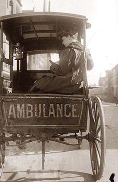 Dr. Elizabeth Bruyn in horse-drawn ambulance