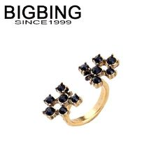Bigbing jewelry fashion full black crystal golden ring set female personality ring wholesale accessories D154