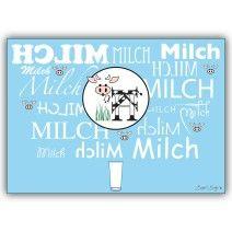 Typografische Milch Kuh Grußkarte – nicht nur für Milchbubis