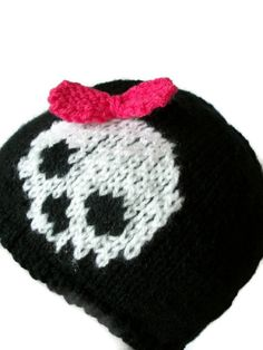 Skull Bow Hat Child Women beanie knitted goth emo by thekittensmittensuk on… Emo, Goth, Beanie, Skull, Child, Trending Outfits, Unique Jewelry, Handmade Gifts, Halloween