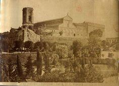 San Miniato al Monte foto in albume anni 1860/70, i danni alla torre sembrano fatte da palle di cannone.#Firenze.