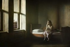Richard Tuschman. From the series Hopper Meditations, Woman and Man on a Bed, 20 x 29 in