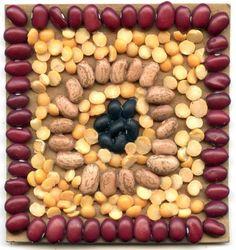 Bean Mosaic. White glue and chip board and beans. #mosaic #artprojectsforkids