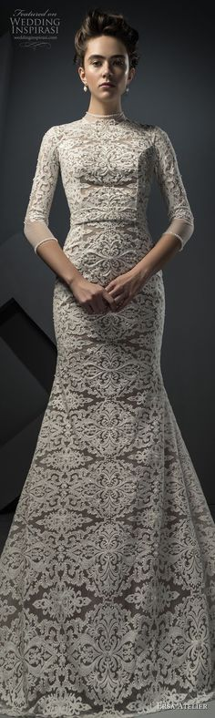 ersa atelier spring 2018 bridal three quarters sleeves high neck heavily embellished bodice tulle skirt modest drop waist a line wedding dress covered lace back chapel train lv -- Ersa Atelier Spring 2018 Wedding Dresses Stunning Wedding Dresses, Wedding Dresses 2018, Beautiful Gowns, Bridal Collection, Dress Collection, Ersa Atelier, Country Dresses, Shower Dresses, Types Of Dresses