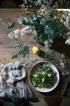 Green fettuccine with nettles, truffle butter, sage and lemon - The Freaky Table Truffle Butter, Food Photography Styling, Flower Photography, Prop Styling, Pasta Recipes, Dinner Recipes, Food Art, Lemon, Vegetarian