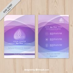 Фиолетовый абстрактные волны центр йоги Брошюра Бесплатные векторы